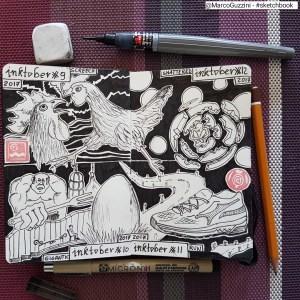 inktober day 9, 10, 11, 12 sketchbook Marco Guzzini inchiostro