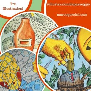 Tre illustrazioni da passeggio brevi illustrazioni narrate