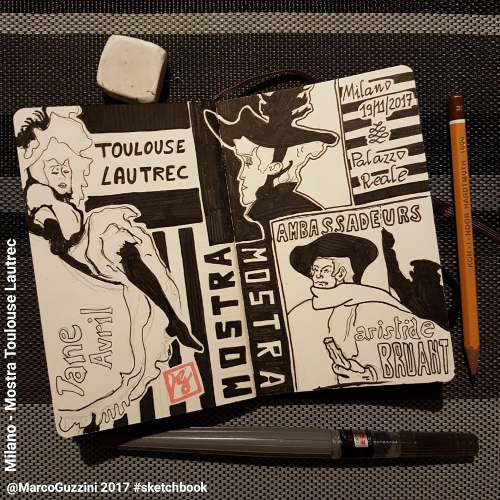 sketch dedicato alla mostra di toulouse lautrec a Milano