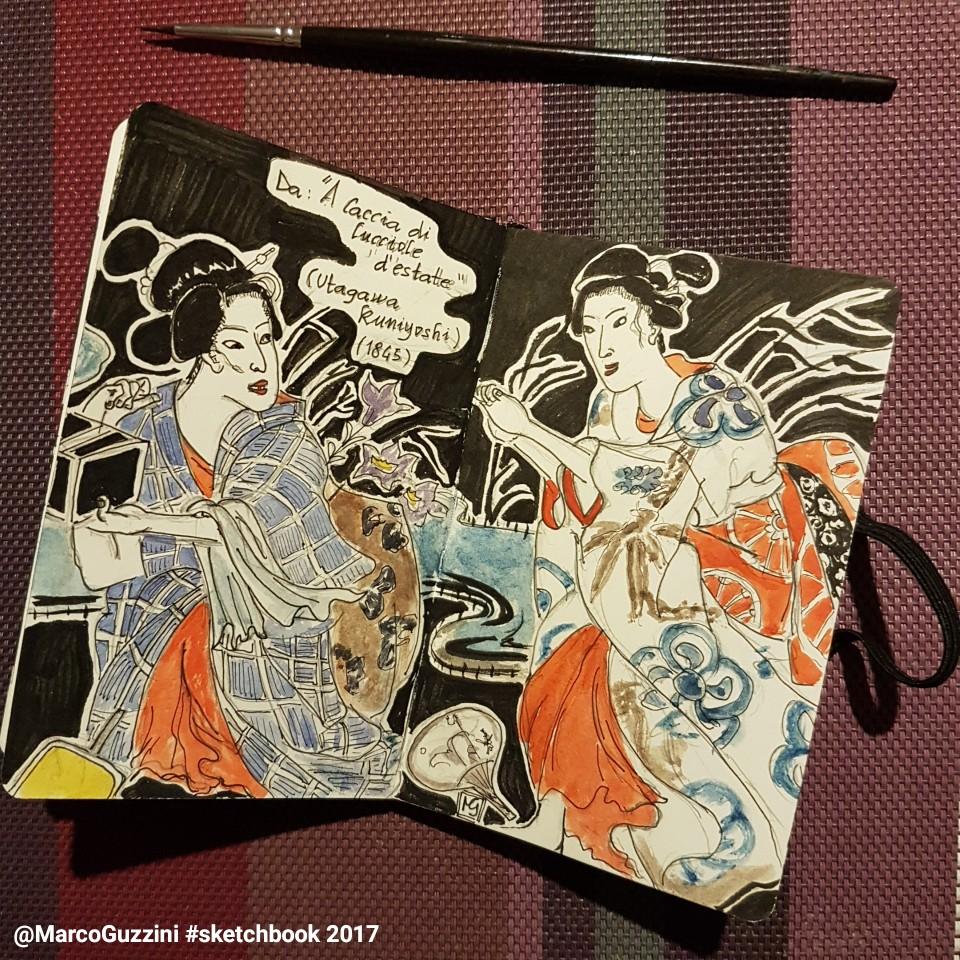 sketchbook illustrazione tratta da una stampa giapponese di kuniyoshi