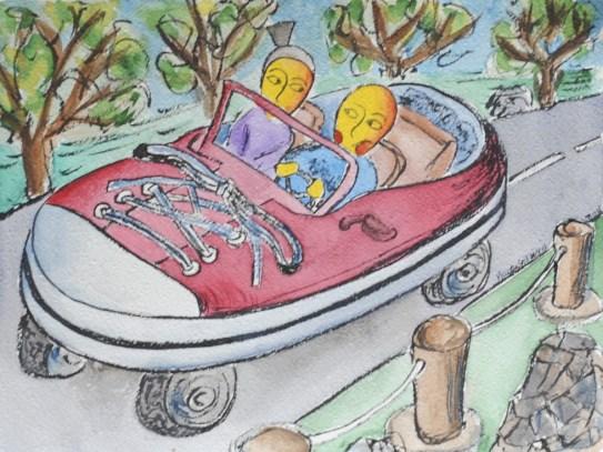 viaggiare insieme , ascoltare la radio in viaggio - illustrazione da passeggio