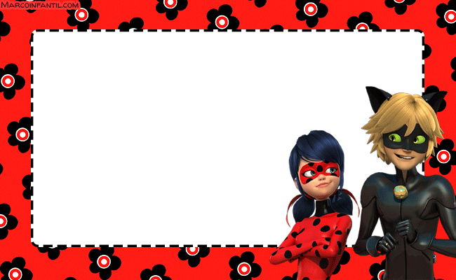 Ladybug y Cat Noir etiquetas stickers marcos