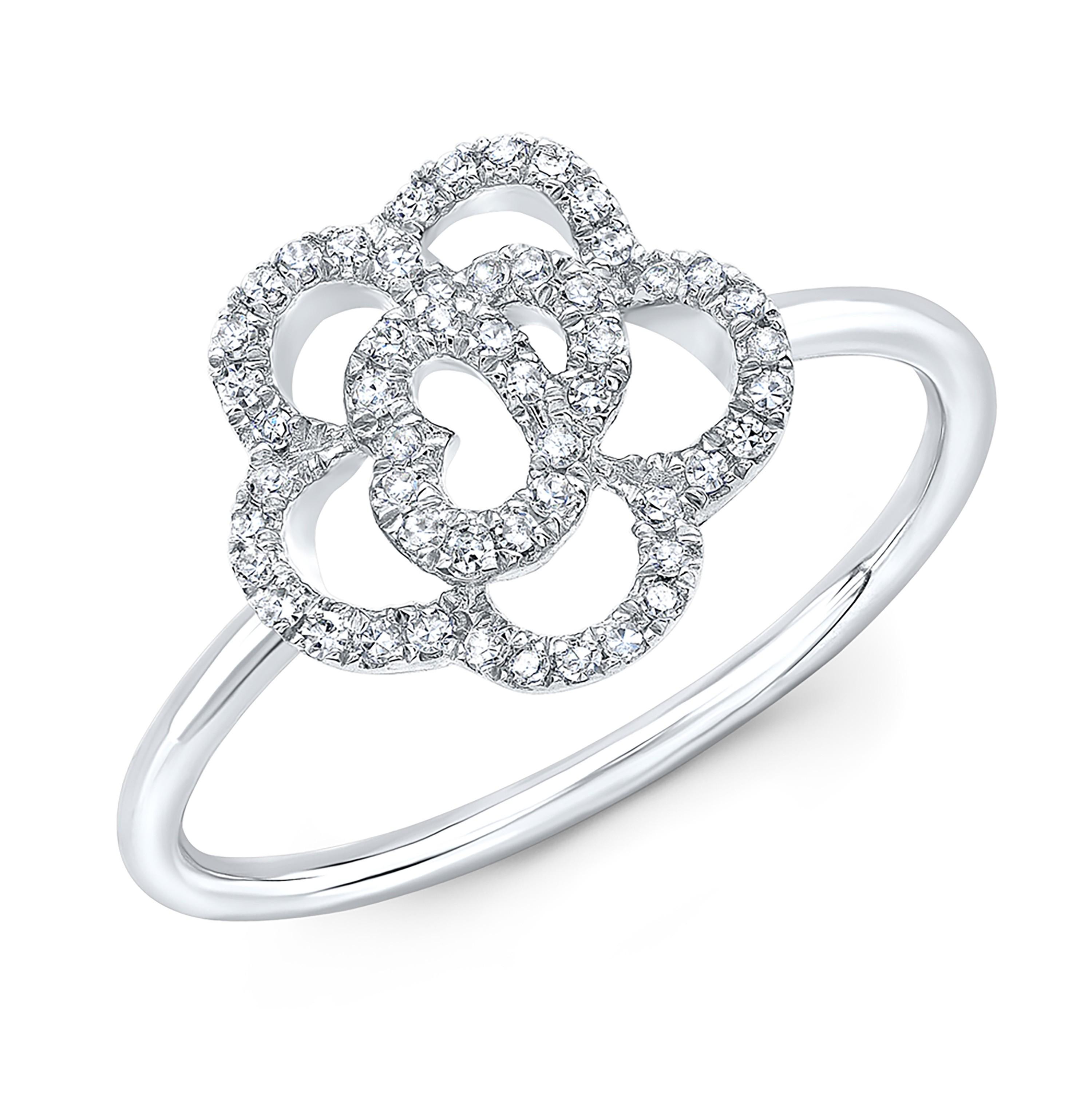 14kt White Gold Diamond Camellia Flower Ring