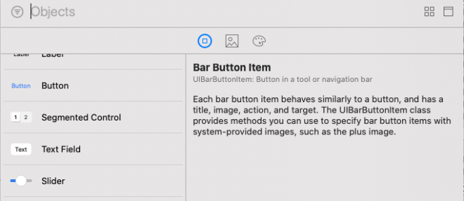 Xcode's UI library selection tool.