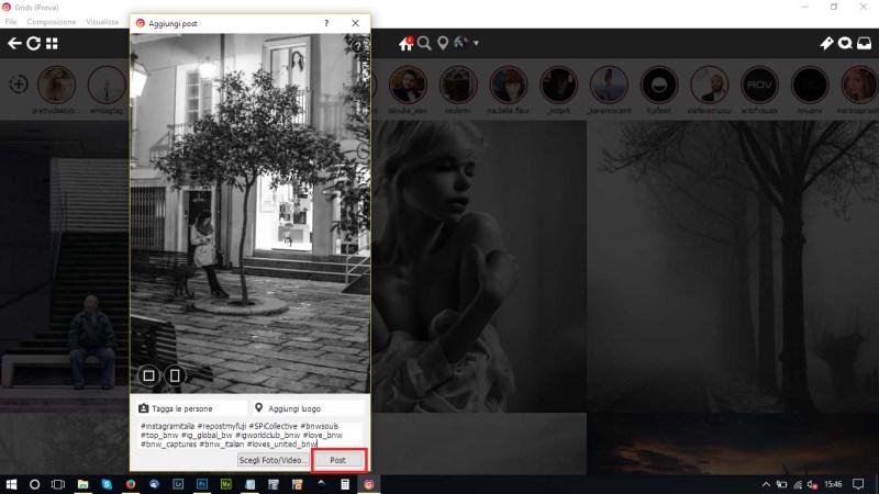 schermata di pubblicazione
