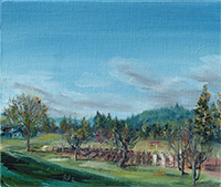 painting of a farm