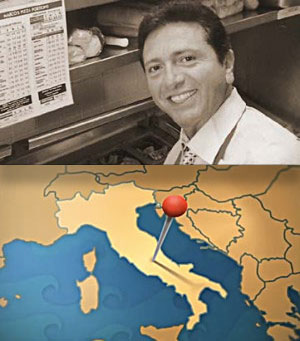"A black-and-white portrait of founder Pasquale ""Pat"" Giammarco over a map of Italy with a large cartoon pin placed in the center."