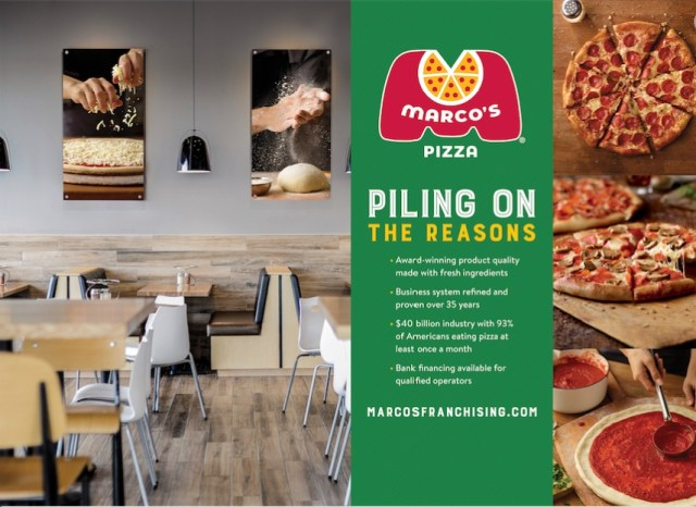 "An image of wall art and the dining room at a Marco's Pizza restaurant. The art features hands spreading shredded cheese on a pizza and hands preparing to work with fresh dough. On the right side is a collection of three images, two of fresh pizza and one of someone spreading tomato sauce on fresh dough. In the middle is a green graphic with the Marco's Pizza logo and the text ""Piling On the Reasons 