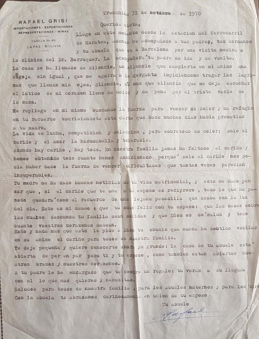 Carta a Chichi publicada