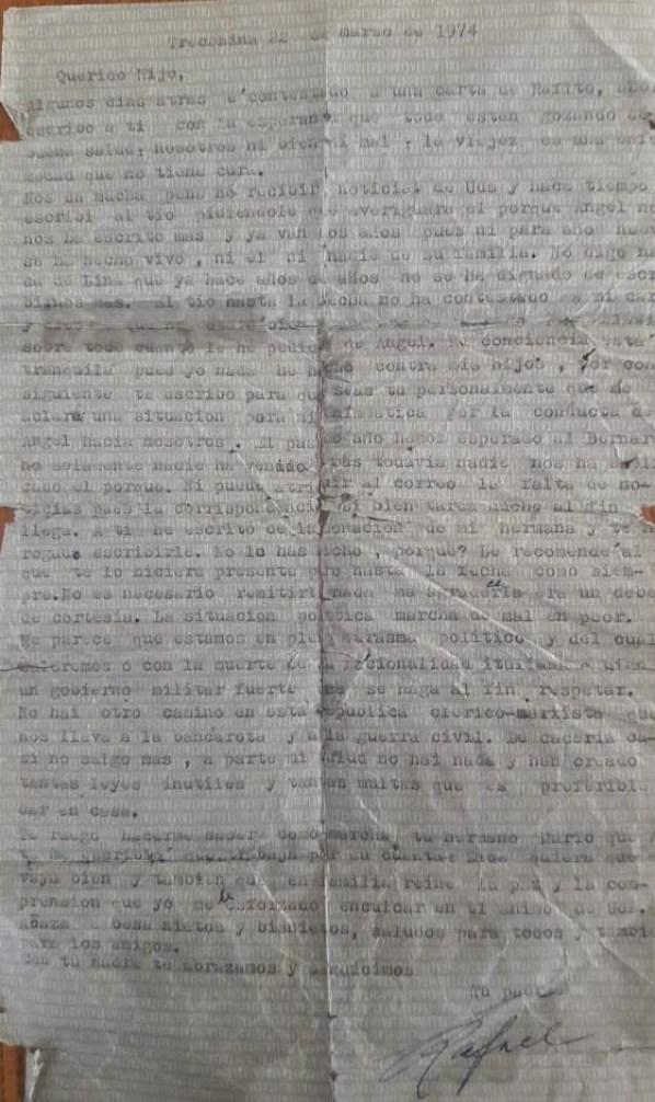 Carta de Rafael a Blas