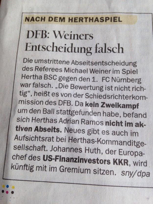 Tagesspiegel, Sportteil, 6. Februar 2014, Seite 17