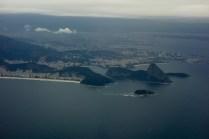 A Praia de Copacabana e Morro do Pão de Açúcar