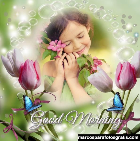 Marcos de buenos dias con flores y mariposas