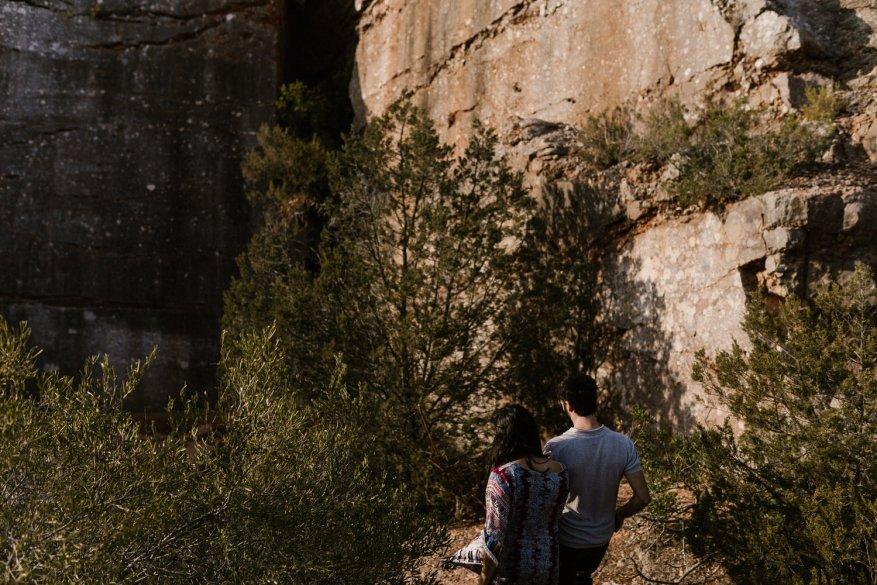 adventurous couple walking in nature