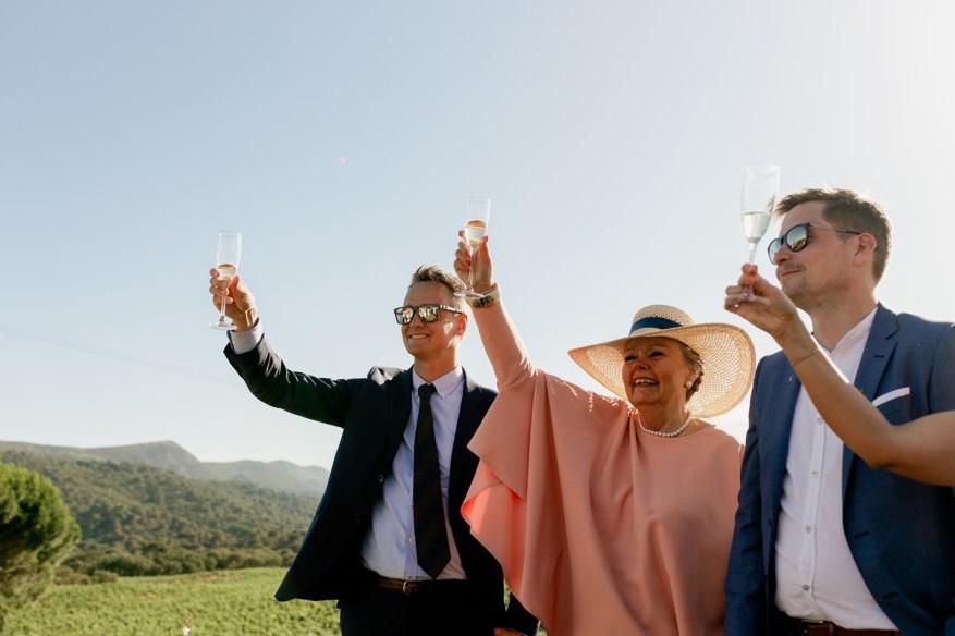 wedding guests raise their glass