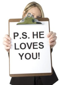 "Picture of a clip board with the reminder ""P.S. He Loves You!"""