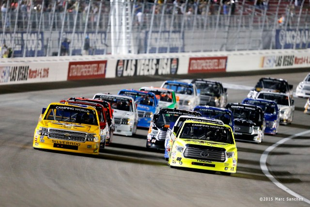 2015 October 03: John Wes Townley (05) Athenian Motorsports Toyota Tundra and Matt Crafton (88) ThorSports Racing Toyota Tundra at the start of the 19th annual Rhino Linings 350 NASCAR Camping World Truck Series at the Las Vegas Motor Speedway in Las Vegas, Nevada. (Photo by Marc Sanchez/Icon Sportswire)