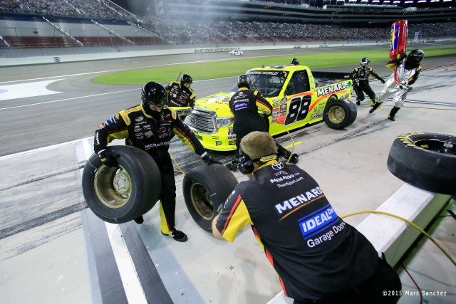 2015 October 03: Matt Crafton (88) ThorSports Racing Toyota Tundra makes a stop for fuel and tires during the 19th annual Rhino Linings 350 NASCAR Camping World Truck Series at the Las Vegas Motor Speedway in Las Vegas, Nevada. (Photo by Marc Sanchez/Icon Sportswire)
