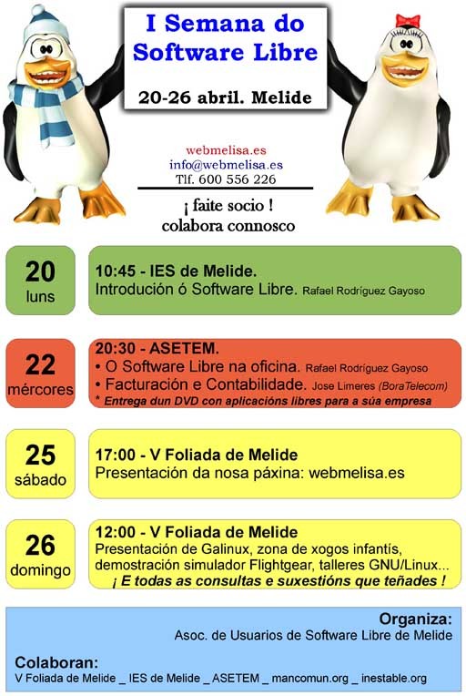 programa da I Semana do Software Libre de Melide