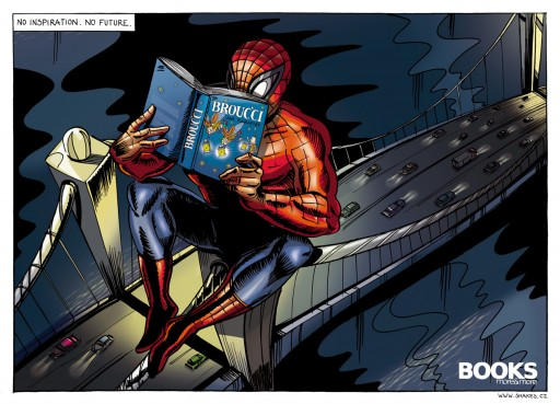 Spider-Man lendo