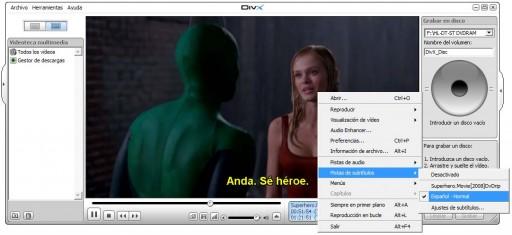 Probando os subtítulos co DivX Player