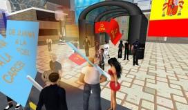 Manifestación facha en Second Life