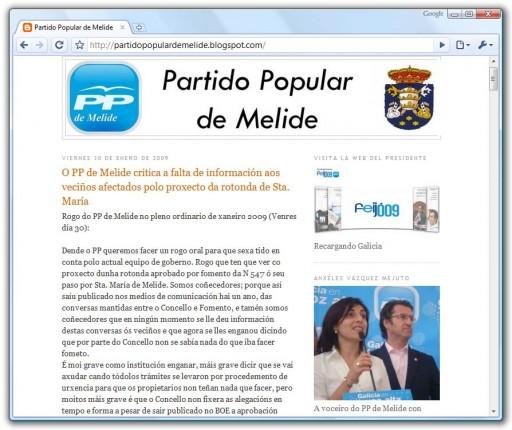 Novo blogue do PP melidense