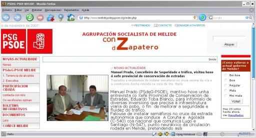 Web do PSdeG-PSOE de Melide
