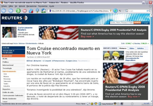 Tom Cruise atopado morto en New York