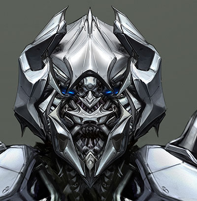 Detalle da cara do novo deseño de Megatrón
