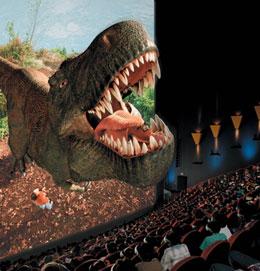 Dinosauro saíndo da pantalla