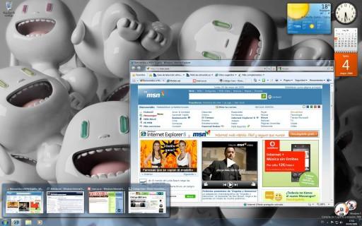 Windows 7 presenta unha nova barra de programas e os gadgets da barra lateral poderán colocarse en calquera parte do escritorio