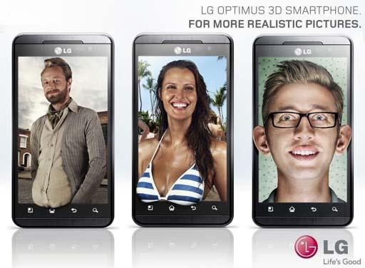 anuncios do LG Optimus 3D