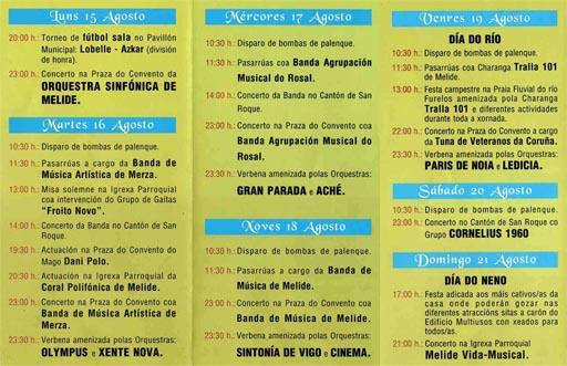Programa das festas do San Roque 2011