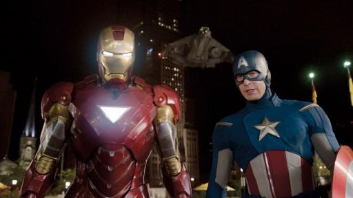Iron Man e o Capitán América en Los Vengadores