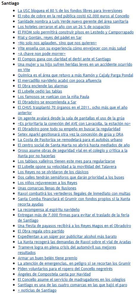 titulares do boletín de La Voz