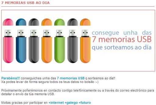 sorteo de memorias USB