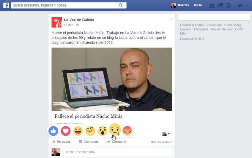 Foi unha mágoa estrear a reacción de tristura no Facebook cunha nova sobre o pasamento de Nacho Mirás