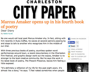 Marcus Amaker opens up in his fourth book of poetry Charleston City Paper, June 2012