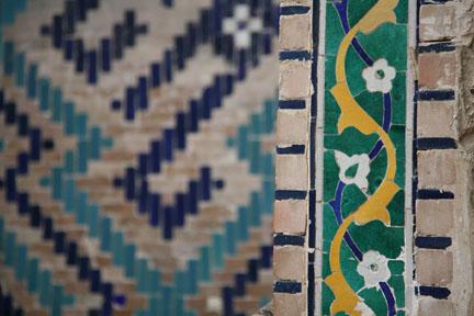 tilework in a medressa; Bukhara, Uzbekistan