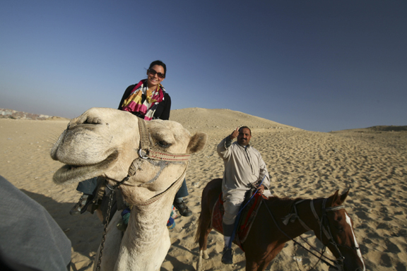 Laura, her camel, and Mahmoud