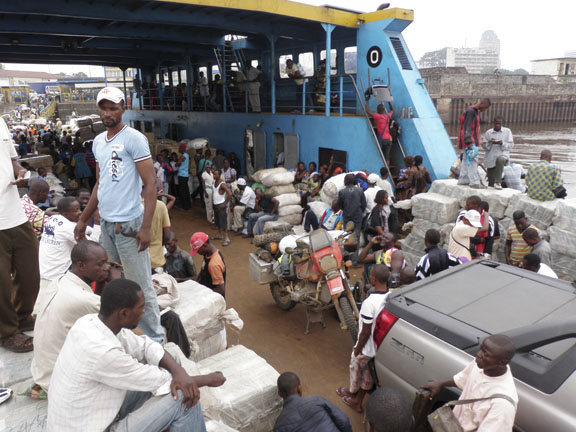 loading the ferry from Kinshasa to Brazzaville