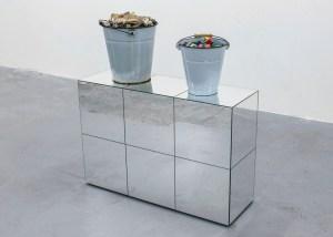 Marcus Kleinfeld, REALISATION, 2014 2 buckets, bones, toy bricks, mirrored plinth 100 x 90 x 30 cm