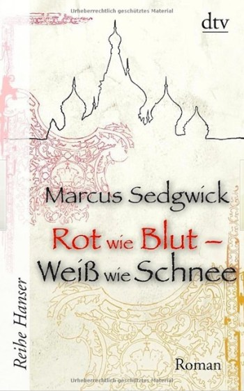 German cover of Blood Red Snow White with elegant filigree design.