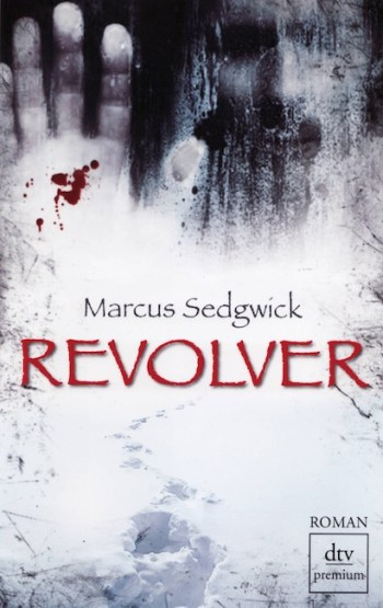 German cover of Revolver showing face at frozen window.