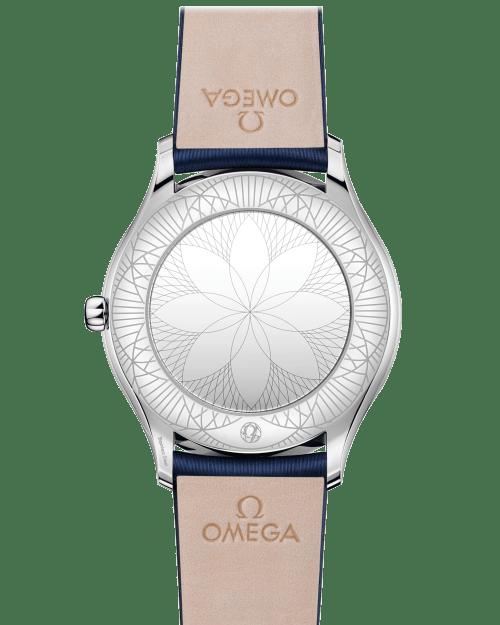 Omega De Ville Trésor Quartz Hvit Skive Blå Skinnrem 36 MM caseback-428.17.36.60.04.001