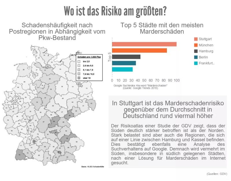 Marderschaden-Risikoatlas: Wo ist das Risiko am größten? Infografik