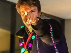Mr. Fillion pointing at the camera before throwing