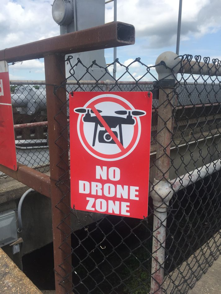 No drone zone sign posted at all the structures | Mardi Gras Miata Club