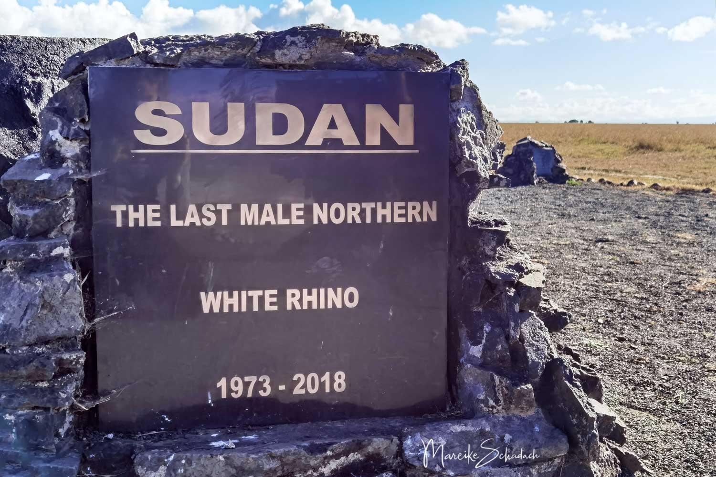 Gravestone Sudan, the last male Northern White Rhino